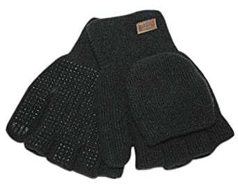 Kinco 5110W Alyeska Ragg Wool Women's Acrylic Thermal Lined Half Finger Glove with PVC Dots, Work, Black (Pack of 6 Pairs)