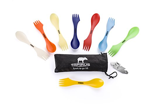 Tapirus-Spork-To-Go-V8-Set-8-Colorful-Durable-BPA-Free-Tritan-Sporks-Spoon-Fork-Knife-Combo-Utensils-Flatware-Mess-Kit-For-Camping-Outdoor-Activities-With-Bottle-Opener-Carrying-Case