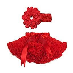 Buenos Ninos Girl\'s Tutu Chiffon Petticoat Set with Flower Headband Size 1-2T Red