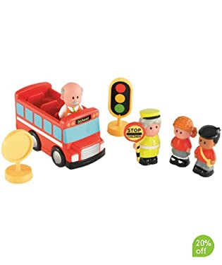 Three-seater bus, driver, two children, lollipop lady, bus stop and traffic lights
