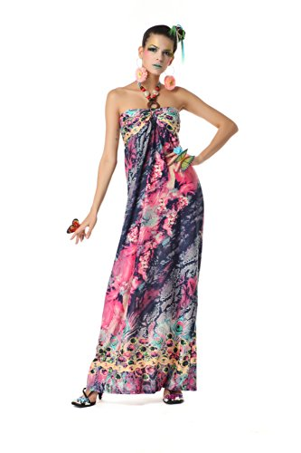 Polarfox Womens Floor Length Halter Floral Print Maxi Dresses Xx-Large Blue