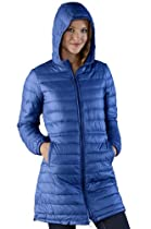 Royal Blue Ladies Long Hooded Packable Poly Down Jacket
