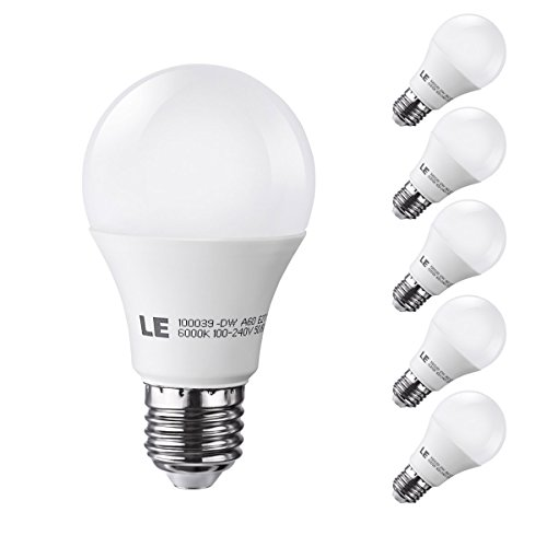 Le 10W A19 E27 Led Light Bulbs, Brightest 60W Incandescent Bulbs Equivalent, 830Lm, Daylight White, Medium Screw, Pack Of 5 Units