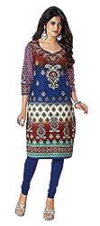 Stylish Girls Women Cotton Printed Unstitched Kurti Fabric (DT102_Blue_Free Size)