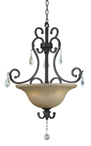 """Yosemite Home Decor 83151-3Ss Jessica Three Light Foyer Pendant With Egyptian Crystals And Brown Cyan Glass In Sierra Slate Finish, 27.5"""" X 31.5"""" front-339394"""