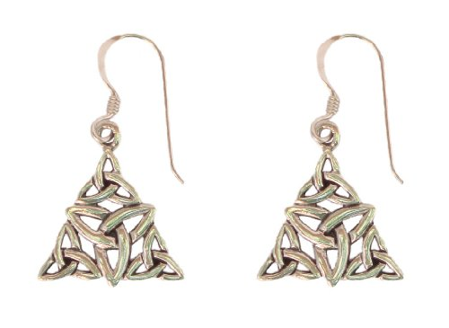 Sterling Silver Celtic Trinity Knot Dangle Earrings with French Wire Backs and Triangular Pendant 0.63