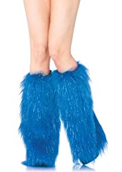 Leg Avenue Women's Furry Lurex Leg Warmers, Blue, One Size