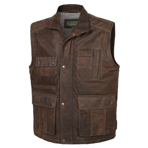 204 : Leather Gilet Mid-Brown, XXX-Large