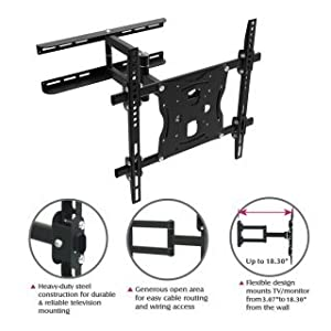 "Flying Colourz Free-View 13-46"" 77LB Full Motion Swivel Tilting Monitor LCD LED Plasma TV Wall Mount"