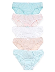 5 Pack Pure Cotton Spotted & Striped Bikini Knickers