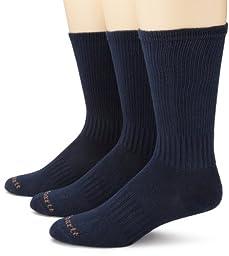 Carhartt Men\'s 3 Pack Work Wear Flat Knit Crew Socks, Navy, 10-13 Sock/6-12 Shoe