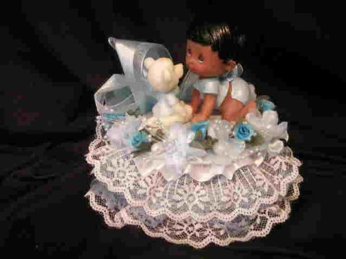 Baby Shower Cake Top Centerpiece Black Baby With Bear front-855830