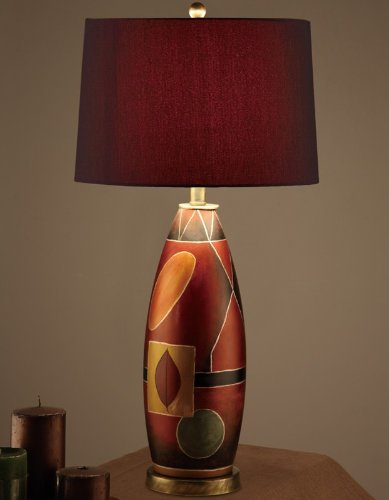 Set of 2 Table Lamps with Red Drum Shade Oval Shaped Base