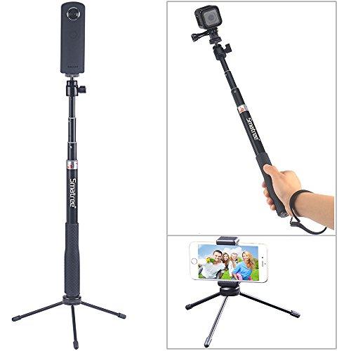 Smatree SmaPole QS RICOH THETAS 360°デジタルカメラ 携帯ステント スマートフォン用 iphone android xperia など対応   HERO Session GoPro4,3+,3,&1/4ネジ穴コンパクトカメラ対応自撮棒 伸縮自在 防水(三脚付き)