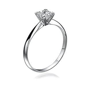GIA Certified, Princess Cut, Solitaire Diamond Ring in 14K Gold / White (1/3 ct, F Color, SI2 Clarity)