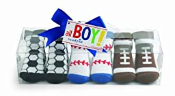 Mud Pie Baby All Boy Decorated Cotton Socks, Sports, 0 - 12 Months, Set of 3