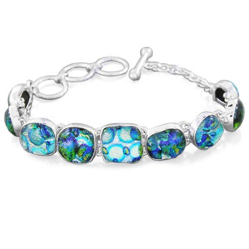 925 Sterling Silver Dichroic Glass Designer Handmade Sparkling And Solitaire Wedding & Party Wear Link Bracelet 8.25