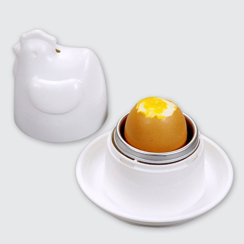 Set of 2 Chicken Microwave Egg Poacher and Cooker with Integrated Saucer