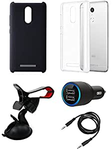 Car Charger Cover Back Cover Mobile Holder combo for Redmi Note 3