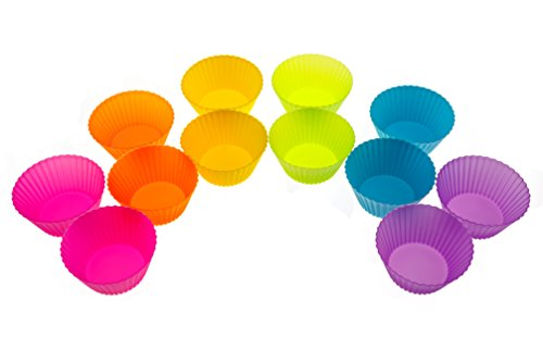 Cutie Cups Silicone Baking Cups - Set Of 12 Reusable Food Grade Cupcake Wrappers And Muffin Liners