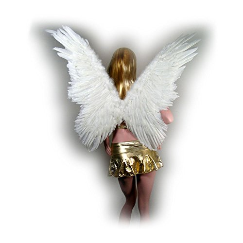 SACAS Super Large White Butterfly Feather Angel Wings w/ FREE HALO