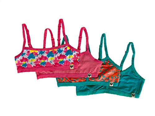 Roxy Girl Cropped Bra Cami Pink/Green/Orange Medium (8-10), 4 Pack (10 Year Old Girl Clothes compare prices)
