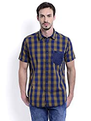 Sting Blue Check Slim Fit Half Sleeve Cotton Casual Shirt For Men