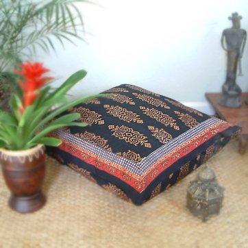 Kilim Noir ~ Exotic Designer Black European Pillow Sham Cover 26X26 front-582677