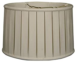 Royal Designs Shallow Drum English Bo x  Pleat Basic Lamp Shade, Linen White, 11 x 12 x 8.5