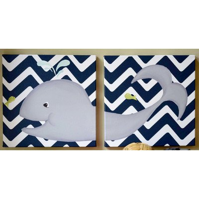 Doodlefish DB1482-nc-di Wallace Whale Diptych Artwork
