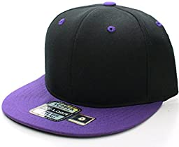 L.O.G.A. Plain Adjustable Snapback Hats Caps (Many Colors). Black/Purple