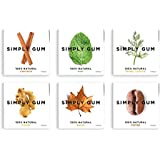 Simply Gum 100% Natural Chewing Gum Assorted Flavors (Mint, Ginger, Cinnamon, Maple, Fennel, Coffee) - 6 Packs