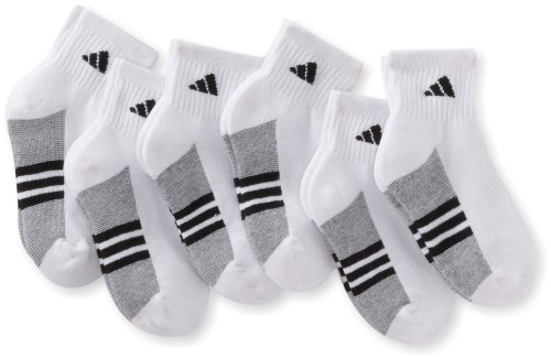Adidas Boys Youth Graphic Small Quarter Sock, Pack Of 6, White/Black/Aluminum 2, 9-1 (Small) back-991229
