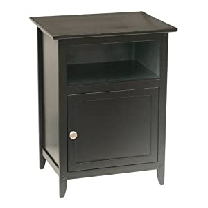 Winsome Wood End Table/Night Stand with Door and Shelf Black