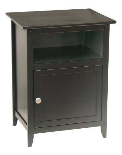 Winsome Wood End Table/Night Stand with Door and Shelf, Black