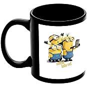 """Raksha Bandhan Gift For Brother Or Sisters """"Selfie Lele Re Minions"""" Printed Black Ceramic Mug"""