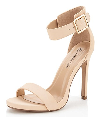 DREAM PAIRS ELEGANTEE Women's Evening High Heels Open Toe Ankle Strap Platform Casual Stiletto Pumps Sandals NUDE NUBUCK SIZE 9