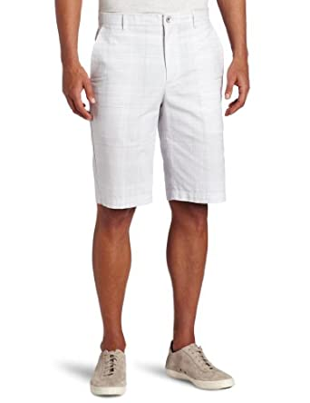 Calvin Klein Sportswear Men's Linear Check Short, White, 36W