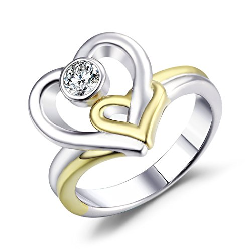 Caperci Two-Tone Double Heart-Shaped Fashion Ring 925 Sterling Silver with CZ Stone (Two Tone Heart Ring compare prices)