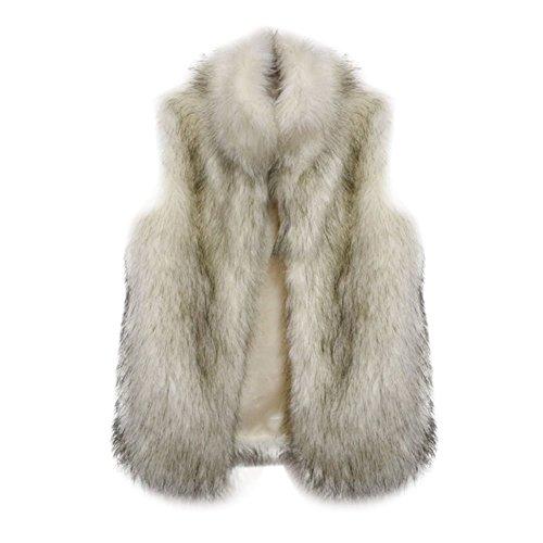 EXIU Womens Luxury Faux Fur Vest Sleeveless Waistcoat Coat Outwear (Fur Trim Hood Vest compare prices)