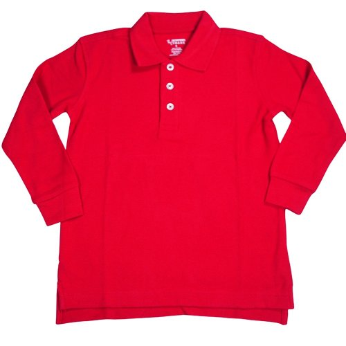 French Toast - Little Boys Long Sleeve Pique Polo, Red 33346-3T front-1045855