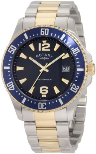 Rotary Timepieces Men's Quartz Watch with Blue Dial Analogue Display and Silver Stainless Steel Bracelet GB00026/05