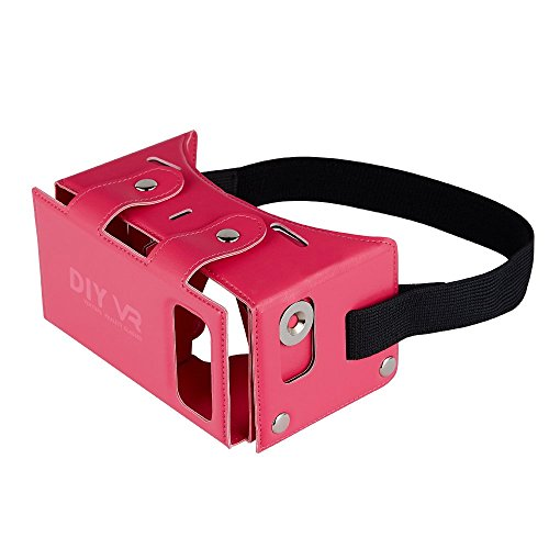 Daisen tech 2016 Best New Waterproof PU leather DIY 3D VR Box Google Virtual Reality Headset Glasses Cardboard Movie Game for Smartphones with Headband (Pink)
