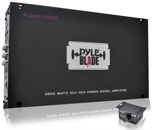 Pyle Plba530Frd Blade 6,800-Watt 5-Channel Compact Class-D Full Range Hybrid Amplifier