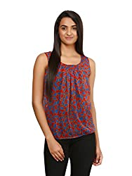 Mayra Women's Georgette Top (1604T08328_M, Red , )