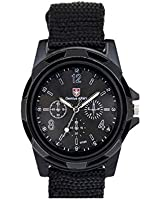 amazing-trading Men Military Army Pilot Fabric Strap Sports Watch