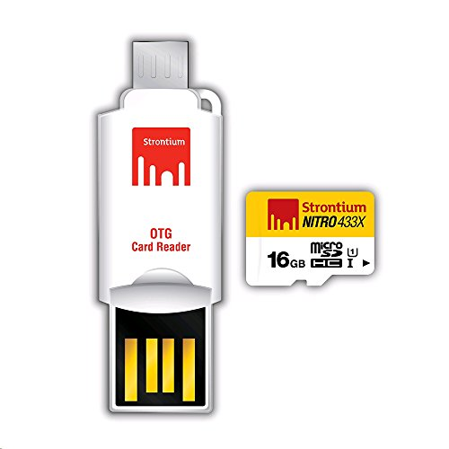 Strontium Nitro 16 GB 433x microSDHC Memory Card (Class10) With OTG Card Reader