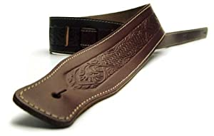 DBM Italian Leather Guitar Strap: Brown 'Weave' Strap (Up to 1.33m) for Electric / Acoustic / Bass Guitar