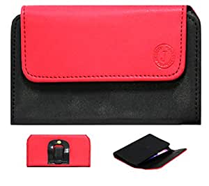 J Cover A4 Nillofer Belt Case Mobile Leather Carry Pouch Holder Cover Clip For Lyf Flame 3 Red Black