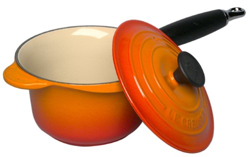 Le Creuset Enameled Cast-Iron 1-1/4-Quart Precision Pour Saucepan with Cover, Flame
